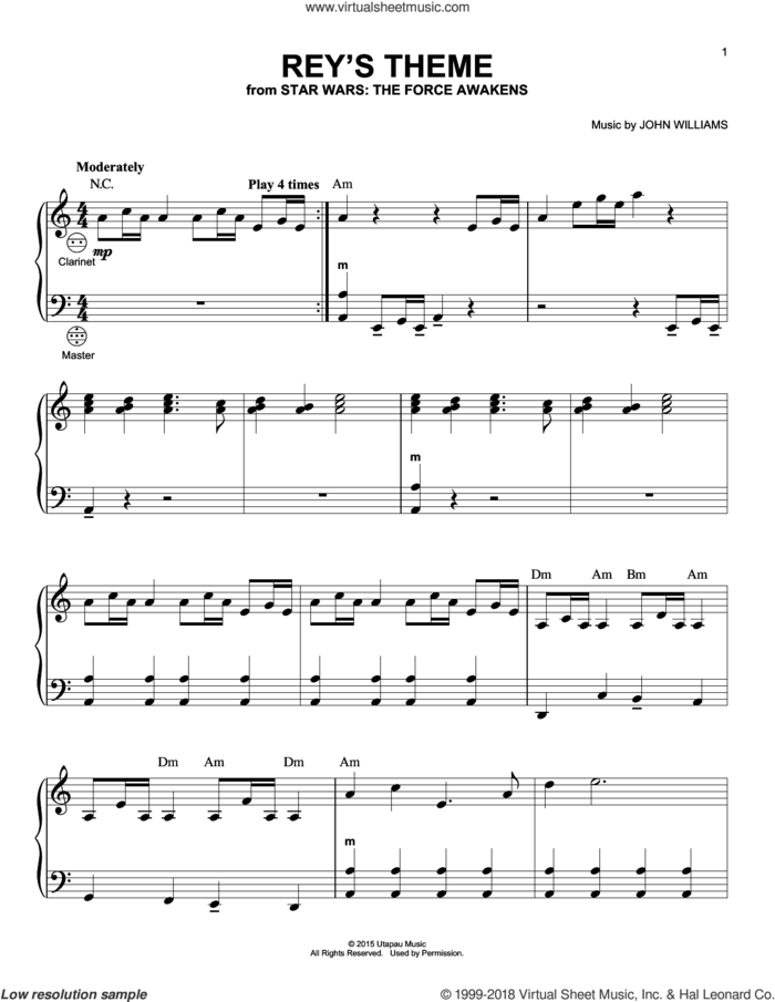 Rey's Theme sheet music for accordion by John Williams, intermediate skill level