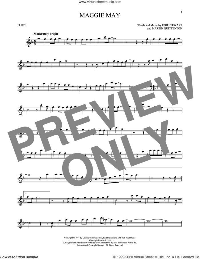 Maggie May sheet music for flute solo by Rod Stewart and Martin Quittenton, intermediate skill level