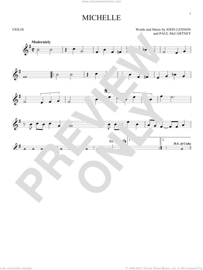 Michelle sheet music for violin solo by The Beatles, John Lennon and Paul McCartney, intermediate skill level