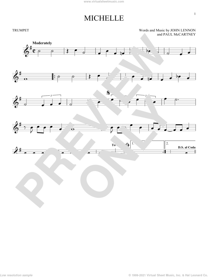 Michelle sheet music for trumpet solo by The Beatles, John Lennon and Paul McCartney, intermediate skill level