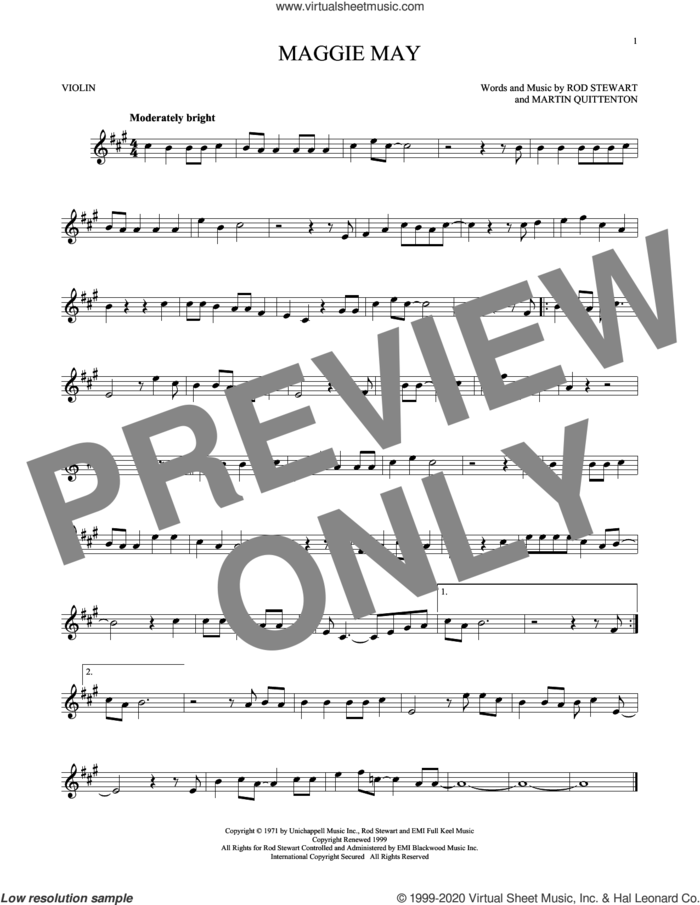 Maggie May sheet music for violin solo by Rod Stewart and Martin Quittenton, intermediate skill level