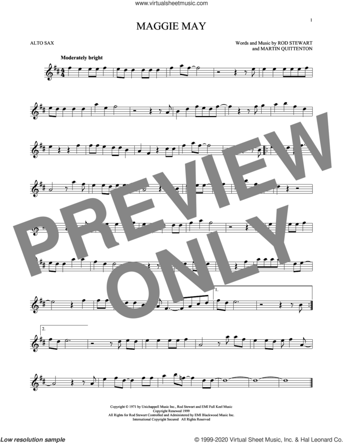 Maggie May sheet music for alto saxophone solo by Rod Stewart and Martin Quittenton, intermediate skill level
