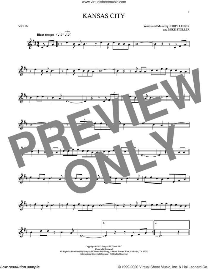 Kansas City sheet music for violin solo by Mike Stoller, The Beatles, Wilbert Harrison, Jerry Leiber and Jerry Lieber & Mike Stoller, intermediate skill level