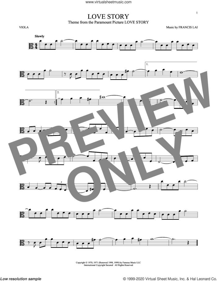 Love Story sheet music for viola solo by Francis Lai, classical score, intermediate skill level