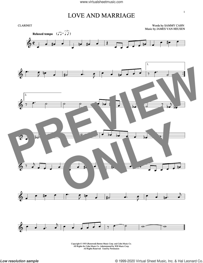 Love And Marriage sheet music for clarinet solo by Sammy Cahn and Jimmy van Heusen, intermediate skill level