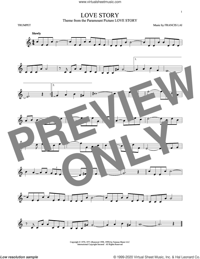 Love Story sheet music for trumpet solo by Francis Lai, classical score, intermediate skill level