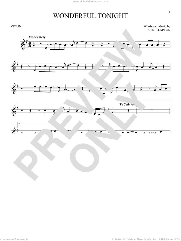 Wonderful Tonight sheet music for violin solo by Eric Clapton and David Kersh, wedding score, intermediate skill level