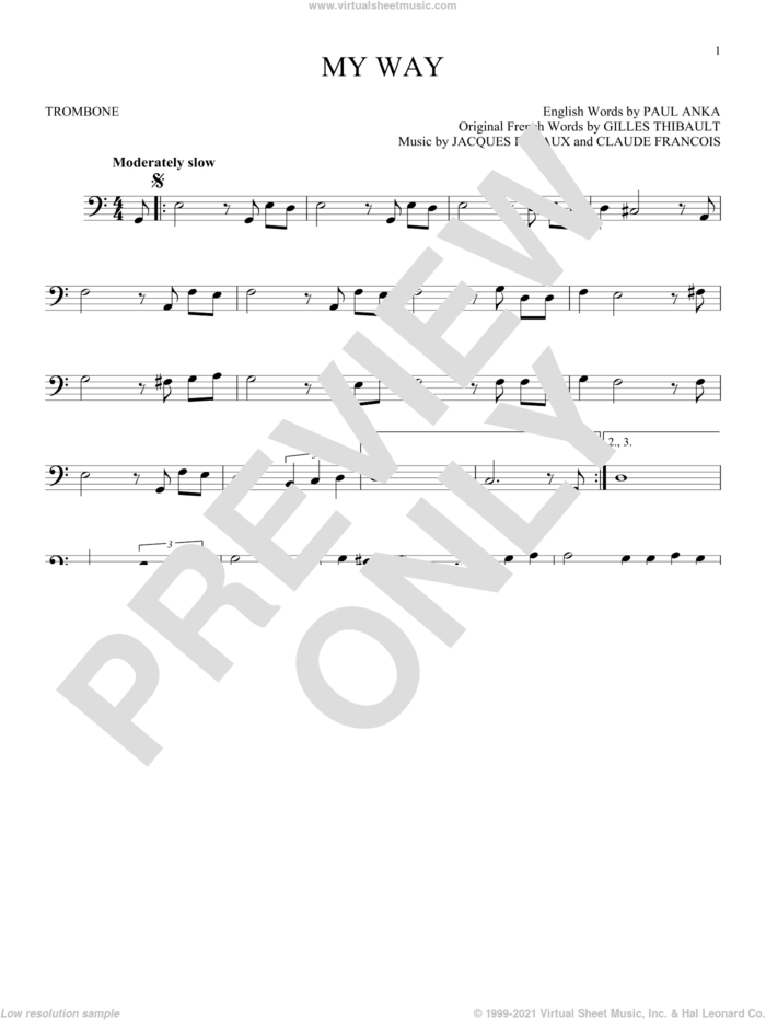 My Way sheet music for trombone solo by Frank Sinatra, Elvis Presley, Claude Francois, Gilles Thibault, Jacques Revaux and Paul Anka, intermediate skill level
