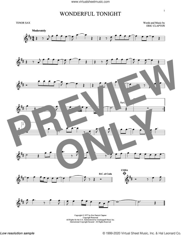 Wonderful Tonight sheet music for tenor saxophone solo by Eric Clapton and David Kersh, wedding score, intermediate skill level