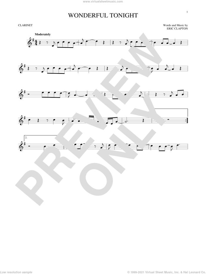 Wonderful Tonight sheet music for clarinet solo by Eric Clapton and David Kersh, wedding score, intermediate skill level