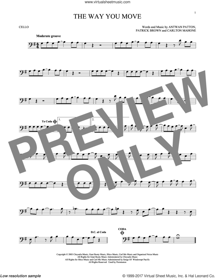The Way You Move sheet music for cello solo by Outkast featuring Sleepy Brown, Antwon Patton, Cartlon Mahone and Patrick Brown, intermediate skill level