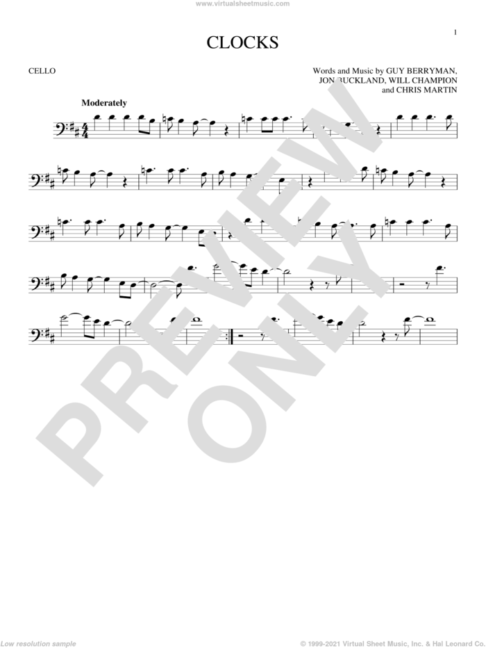 Clocks sheet music for cello solo by Guy Berryman, Coldplay, Chris Martin, Jon Buckland and Will Champion, intermediate skill level