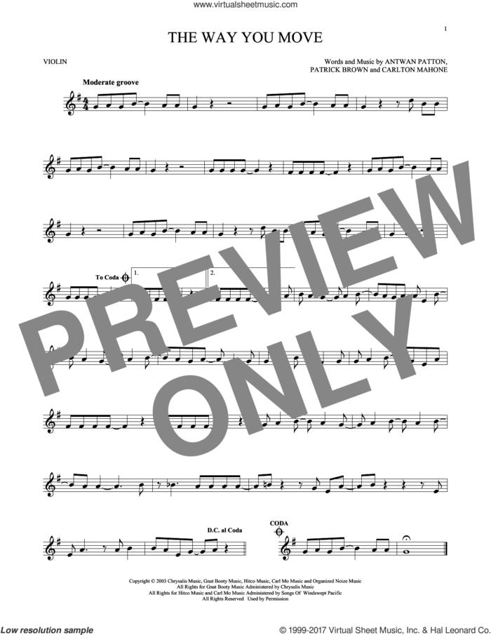 The Way You Move sheet music for violin solo by Outkast featuring Sleepy Brown, Antwon Patton, Cartlon Mahone and Patrick Brown, intermediate skill level