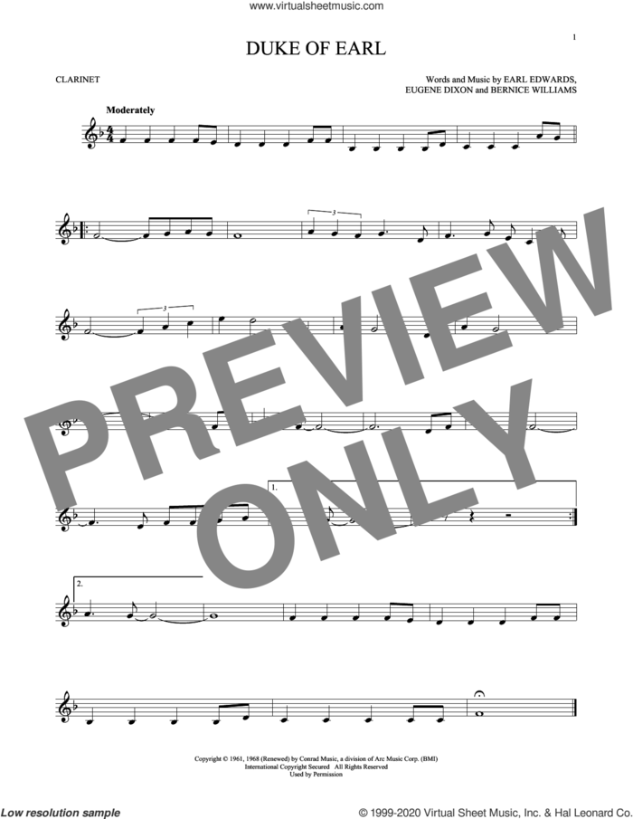 Duke Of Earl sheet music for clarinet solo by Gene Chandler, Bernice Williams, Earl Edwards and Eugene Dixon, intermediate skill level