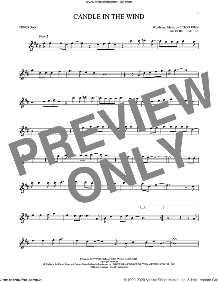 Candle In The Wind sheet music for tenor saxophone solo by Elton John and Bernie Taupin, intermediate skill level