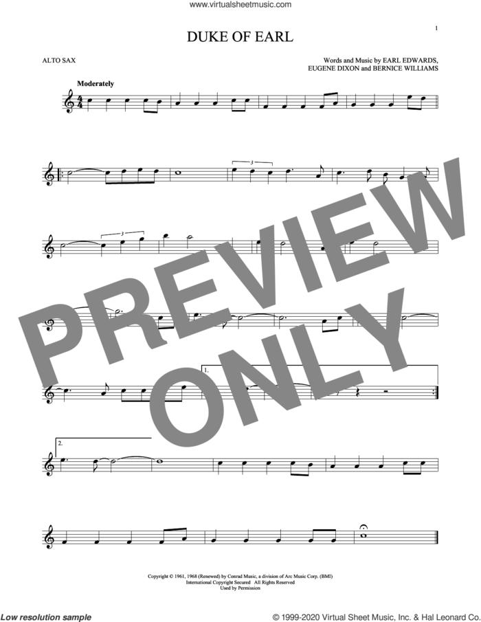 Duke Of Earl sheet music for alto saxophone solo by Gene Chandler, Bernice Williams, Earl Edwards and Eugene Dixon, intermediate skill level