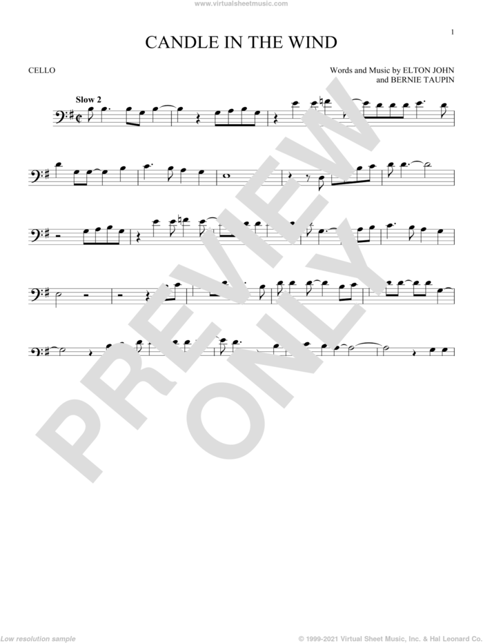 Candle In The Wind sheet music for cello solo by Elton John and Bernie Taupin, intermediate skill level