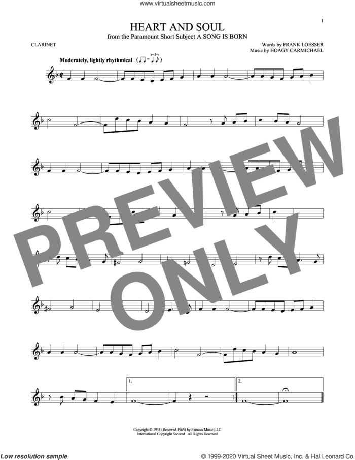 Heart And Soul sheet music for clarinet solo by Frank Loesser and Hoagy Carmichael, intermediate skill level