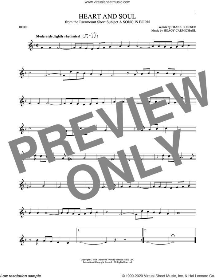 Heart And Soul sheet music for horn solo by Frank Loesser and Hoagy Carmichael, intermediate skill level