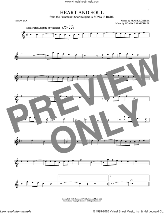 Heart And Soul sheet music for tenor saxophone solo by Frank Loesser and Hoagy Carmichael, intermediate skill level