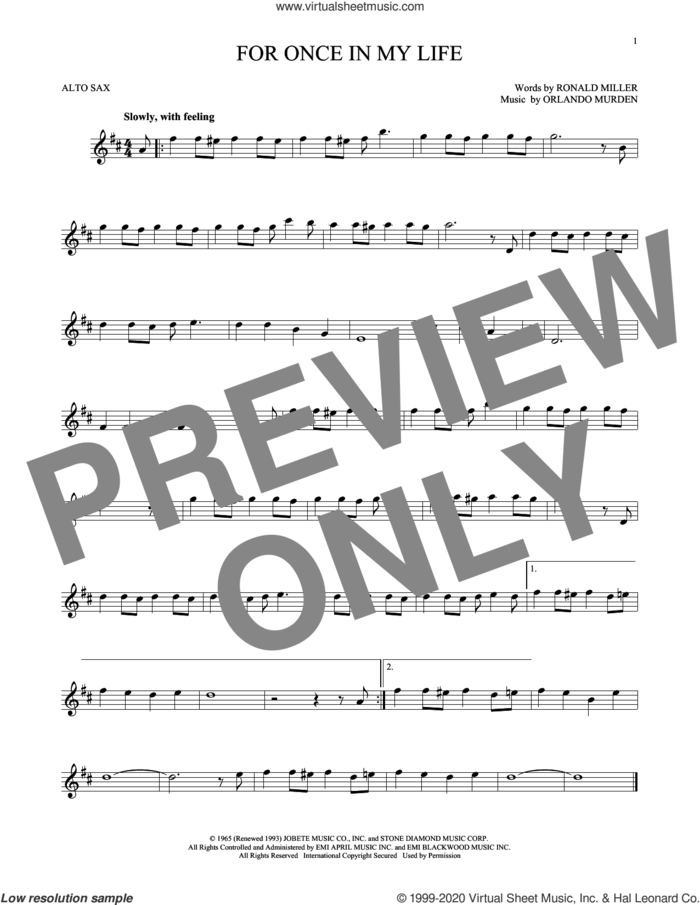 For Once In My Life sheet music for alto saxophone solo by Stevie Wonder, Orlando Murden and Ron Miller, intermediate skill level
