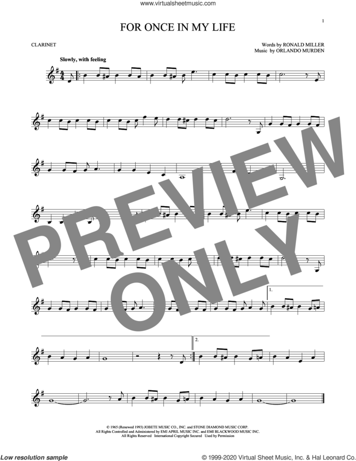 For Once In My Life sheet music for clarinet solo by Stevie Wonder, Orlando Murden and Ron Miller, intermediate skill level