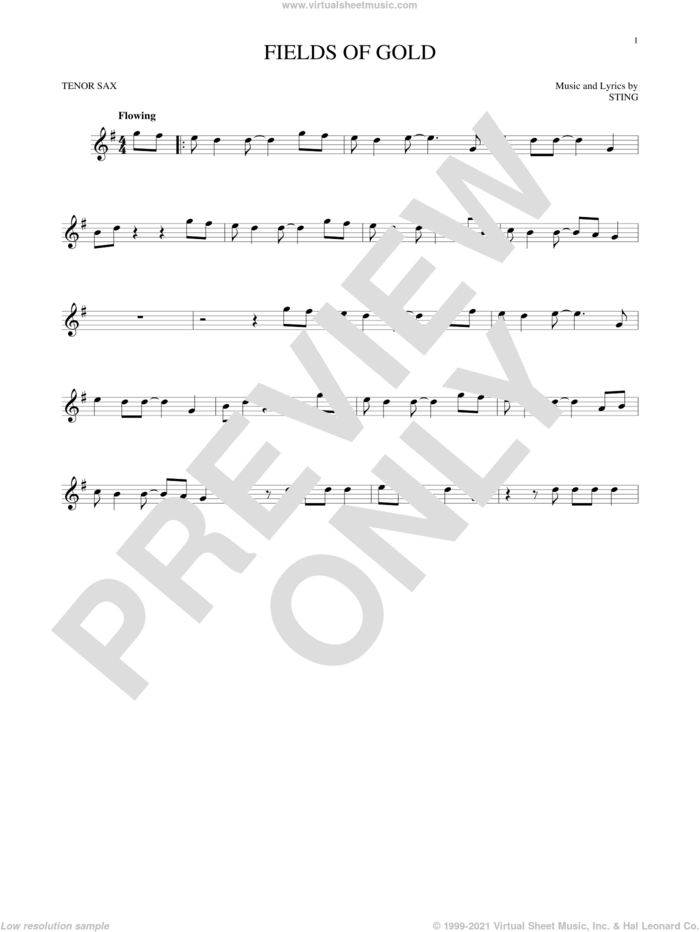 Fields Of Gold sheet music for tenor saxophone solo by Sting, intermediate skill level