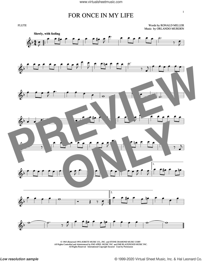 For Once In My Life sheet music for flute solo by Stevie Wonder, Orlando Murden and Ron Miller, intermediate skill level