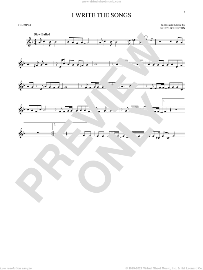I Write The Songs sheet music for trumpet solo by Barry Manilow and Bruce Johnston, intermediate skill level