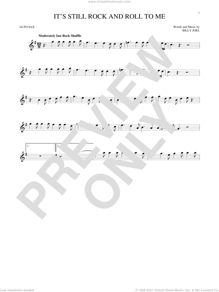 It's Still Rock And Roll To Me sheet music for alto saxophone solo by Billy Joel, intermediate skill level