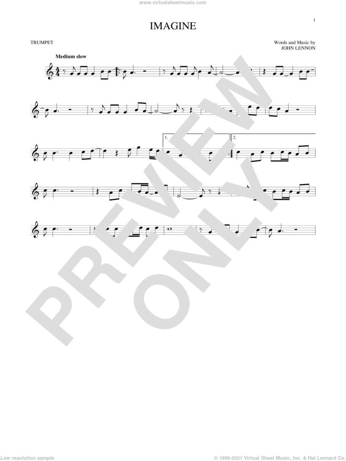 Imagine sheet music for trumpet solo by John Lennon, intermediate skill level