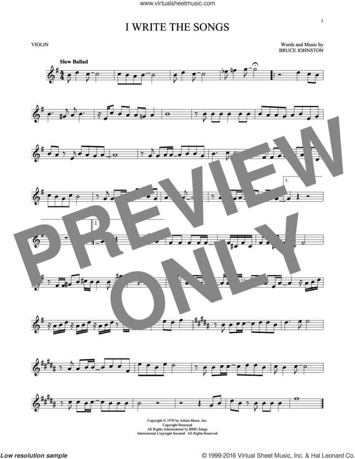 I Write The Songs sheet music for violin solo by Barry Manilow and Bruce Johnston, intermediate skill level