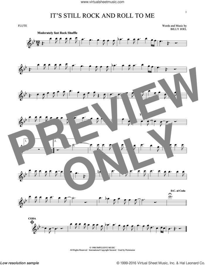 It's Still Rock And Roll To Me sheet music for flute solo by Billy Joel, intermediate skill level