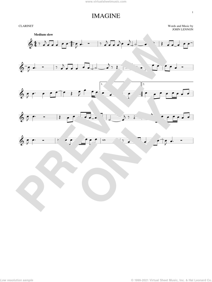 Imagine sheet music for clarinet solo by John Lennon, intermediate skill level