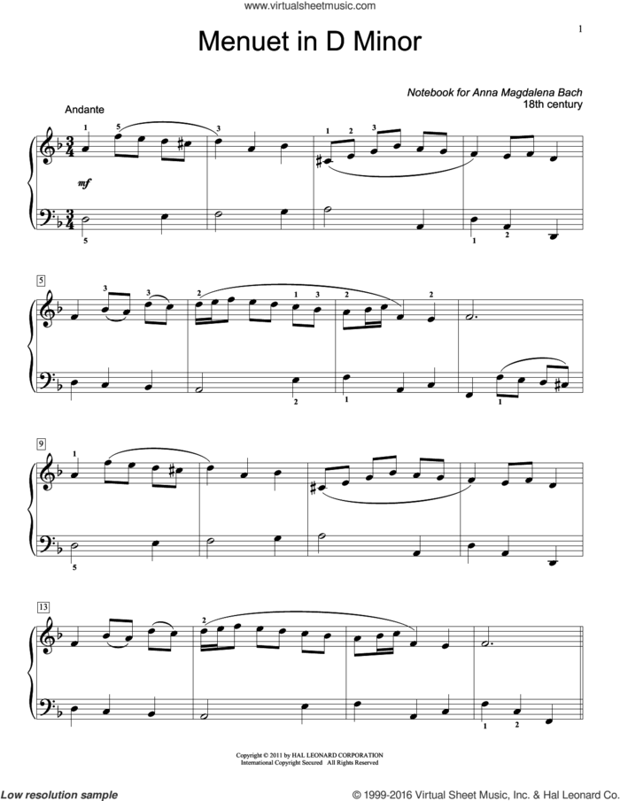 Menuet In D Minor, BWV App. 132 sheet music for piano solo (elementary) by Jennifer Linn and Christos Tsitsaros (ed.), classical score, beginner piano (elementary)