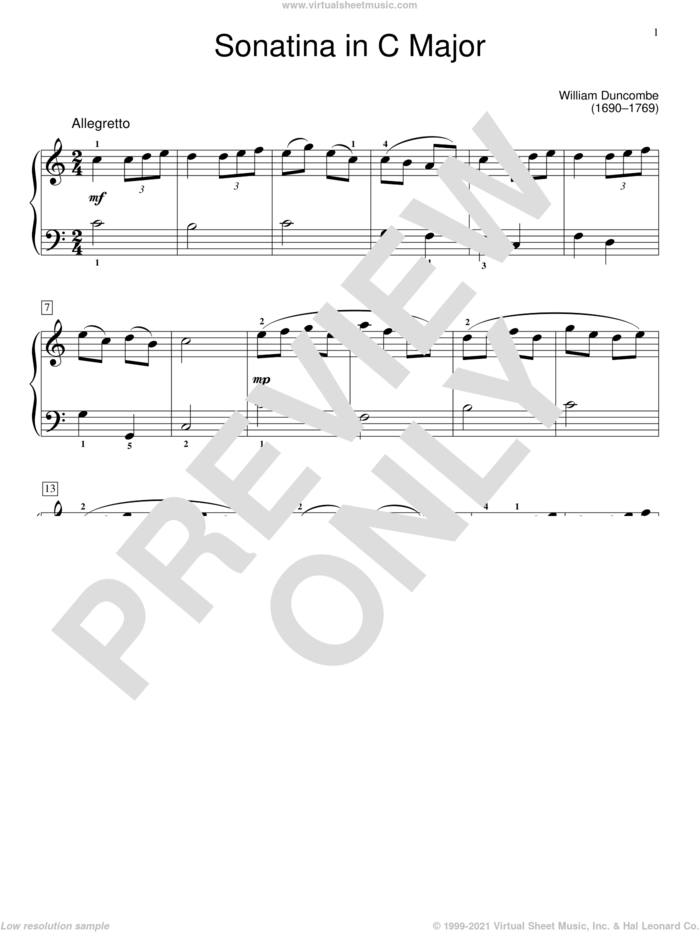 Sonatina sheet music for piano solo (elementary) by William Duncombe, Jennifer Linn and W. Duncombe, classical score, beginner piano (elementary)