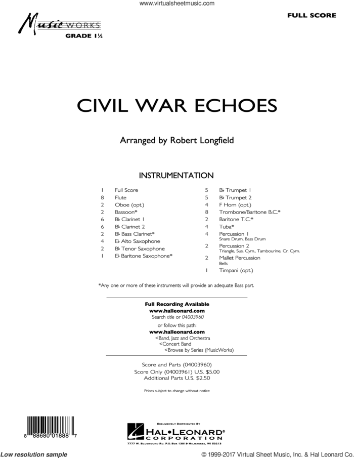 Civil War Echoes (COMPLETE) sheet music for concert band by Robert Longfield, intermediate skill level