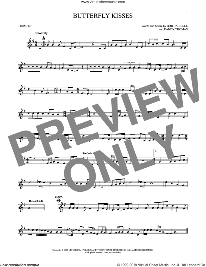 Butterfly Kisses sheet music for trumpet solo by Bob Carlisle, Jeff Carson and Randy Thomas, wedding score, intermediate skill level