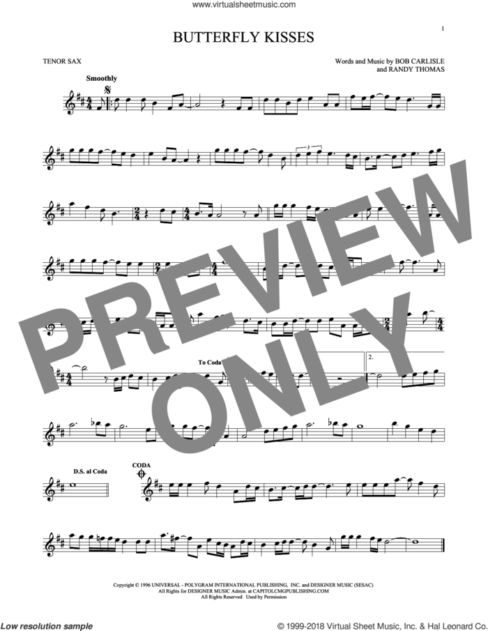 Butterfly Kisses sheet music for tenor saxophone solo by Bob Carlisle, Jeff Carson and Randy Thomas, wedding score, intermediate skill level