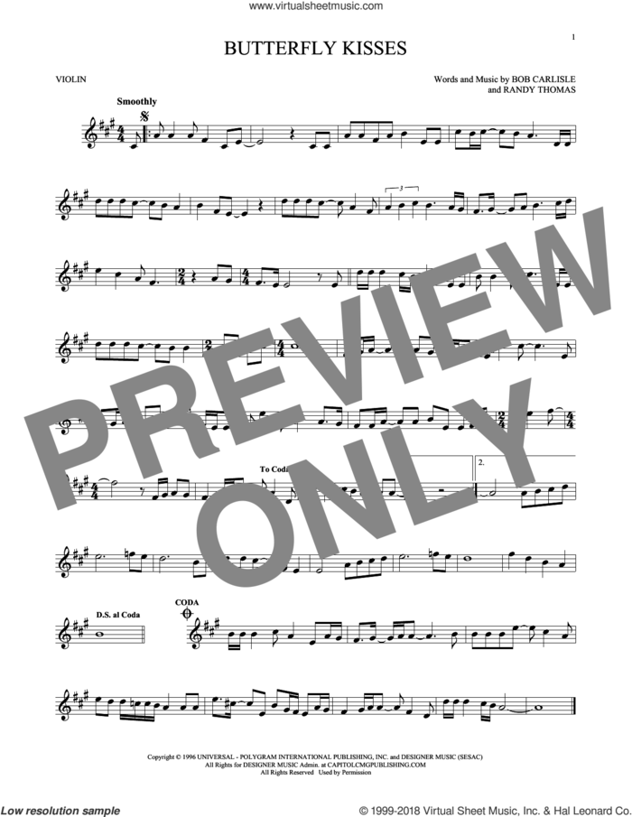 Butterfly Kisses sheet music for violin solo by Bob Carlisle, Jeff Carson, Raybon Bros. and Randy Thomas, wedding score, intermediate skill level