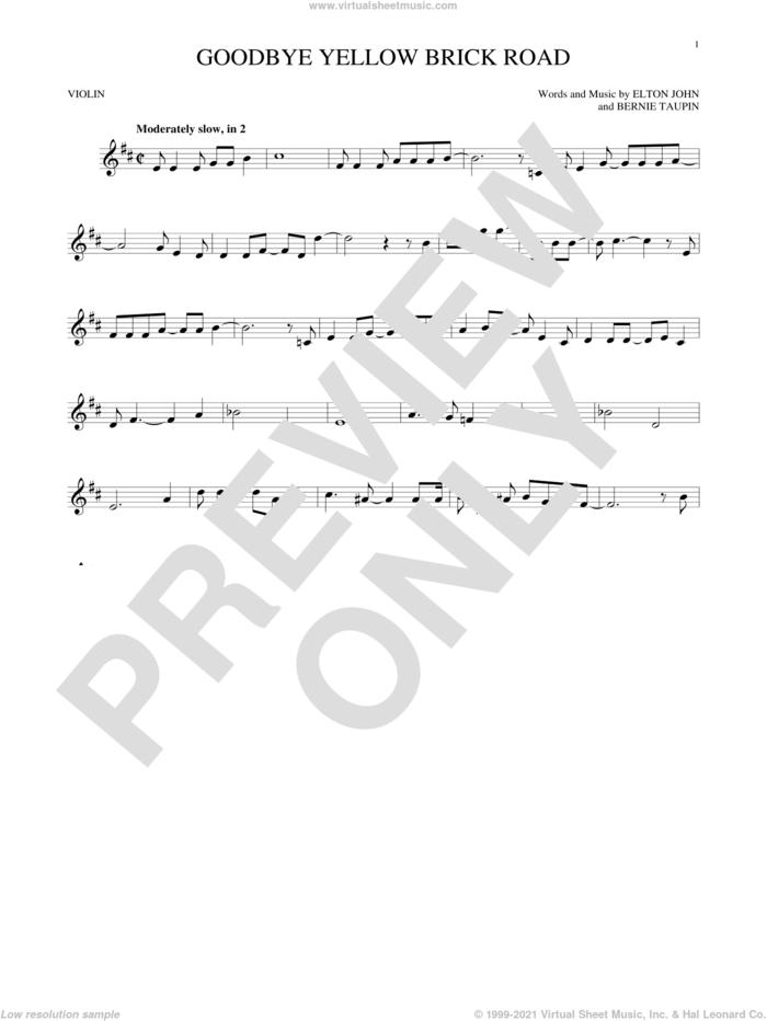 Goodbye Yellow Brick Road sheet music for violin solo by Elton John and Bernie Taupin, intermediate skill level