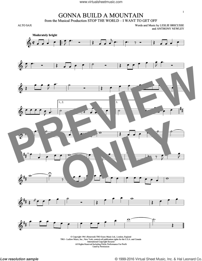 Gonna Build A Mountain sheet music for alto saxophone solo by Leslie Bricusse and Anthony Newley, intermediate skill level