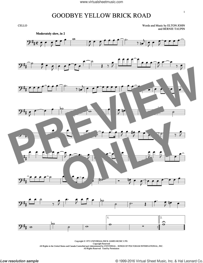 Goodbye Yellow Brick Road sheet music for cello solo by Elton John and Bernie Taupin, intermediate skill level