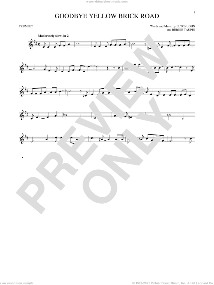 Goodbye Yellow Brick Road sheet music for trumpet solo by Elton John and Bernie Taupin, intermediate skill level