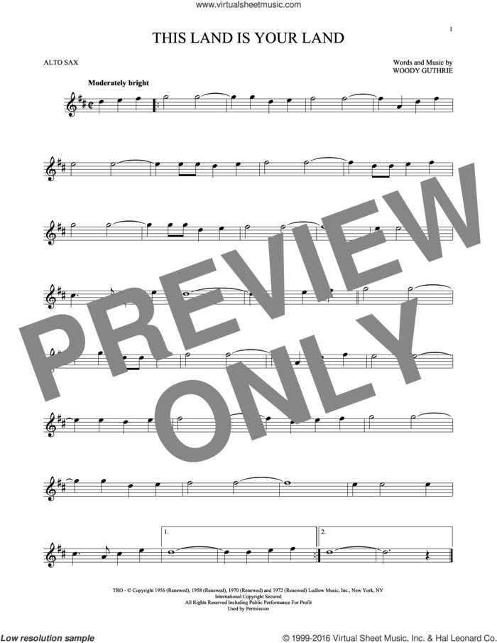 This Land Is Your Land sheet music for alto saxophone solo by Woody Guthrie, intermediate skill level