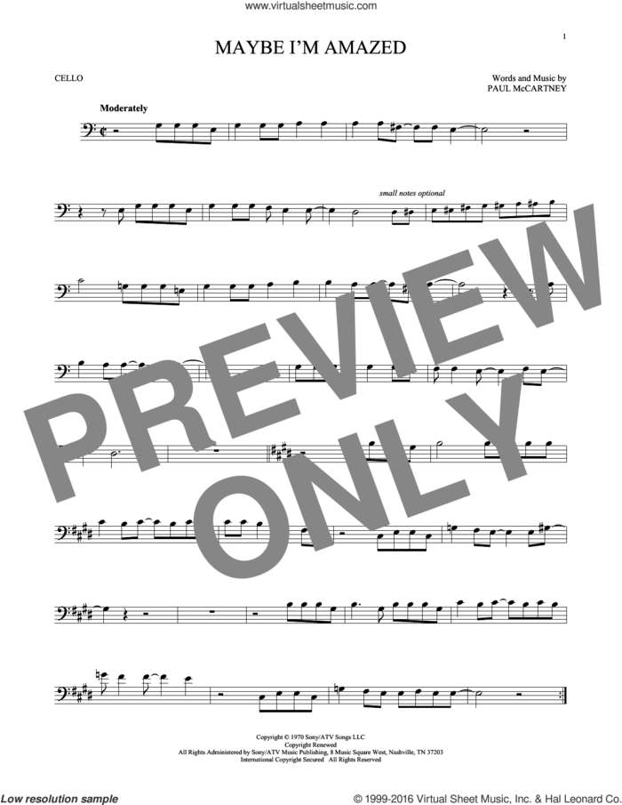 Maybe I'm Amazed sheet music for cello solo by Paul McCartney, intermediate skill level