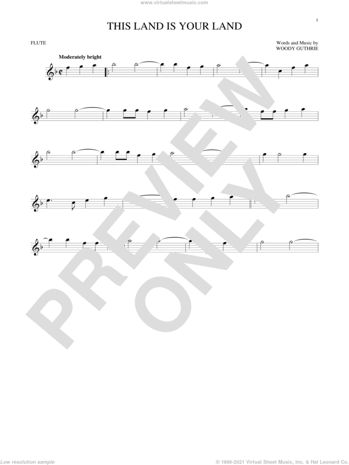 This Land Is Your Land sheet music for flute solo by Woody Guthrie, intermediate skill level