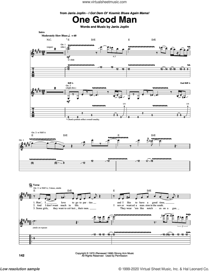 One Good Man sheet music for guitar (tablature) by Janis Joplin and Mike Bloomfield, intermediate skill level