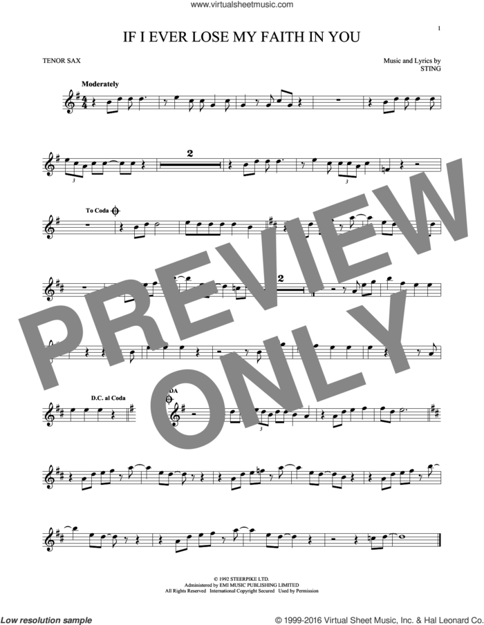 If I Ever Lose My Faith In You sheet music for tenor saxophone solo by Sting, intermediate skill level