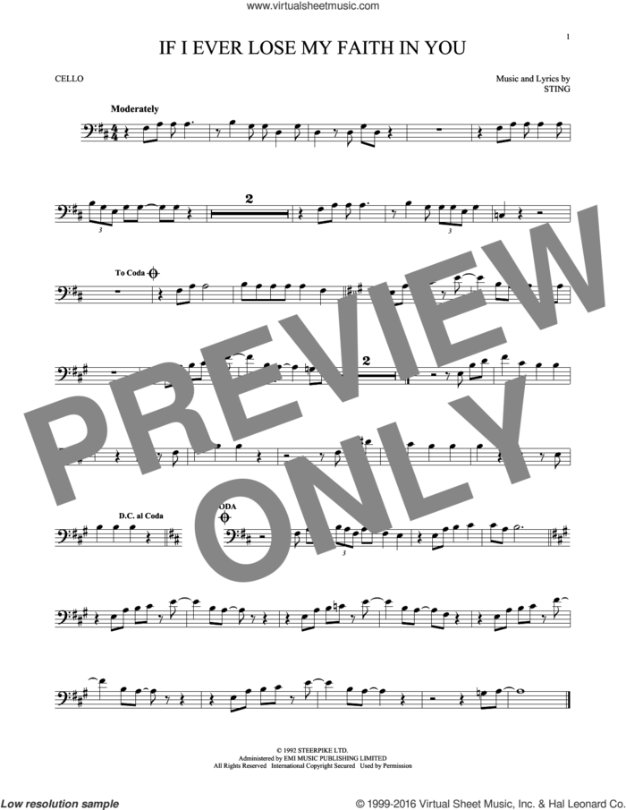If I Ever Lose My Faith In You sheet music for cello solo by Sting, intermediate skill level
